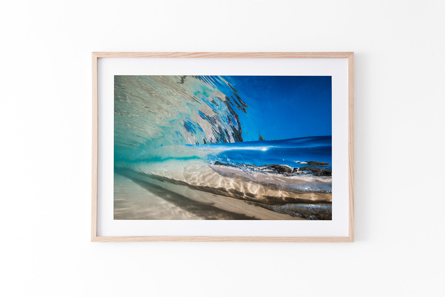 Underwater Beach Print wave breaking oak frame