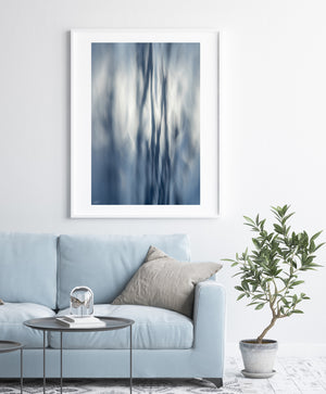 White Frame Abstract Ocean Print