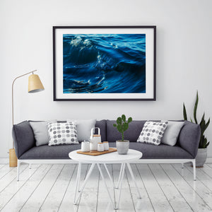 Blue Crush - Abstract Wave Prints and Wall Art Black Frame