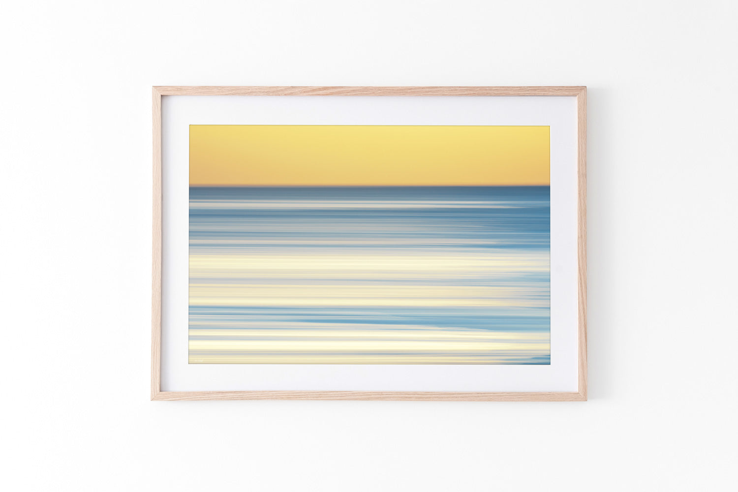 Blue yellow abstract beach print