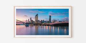 Brisbane City Panorama Oak Framed Print