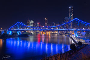 Brisbane City Story Bridge, blue, QLD Australia