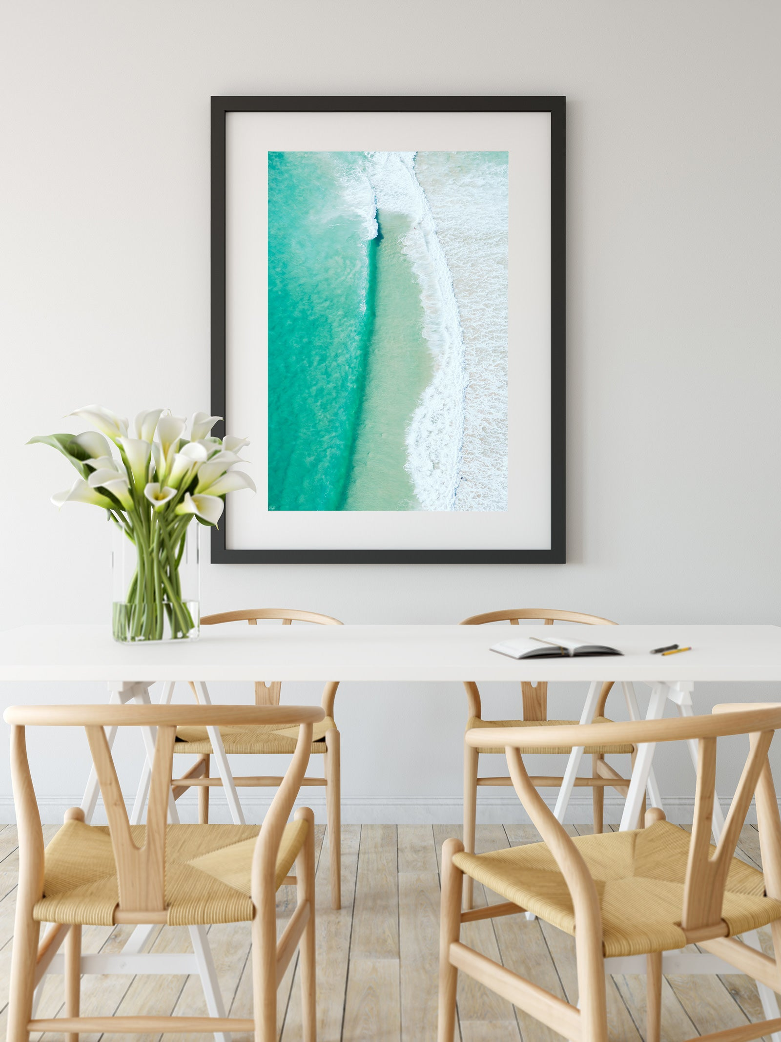 Surf Art Gold Coast Wave wall print dinning room table
