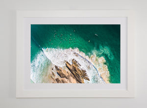Crisp white frame with white mat