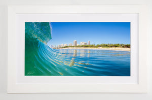 Crisp white framed metallic print
