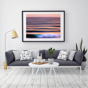 Contoured Waves abstract art in black frame gold coast prints