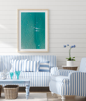 Framed oak print hamptons styled room