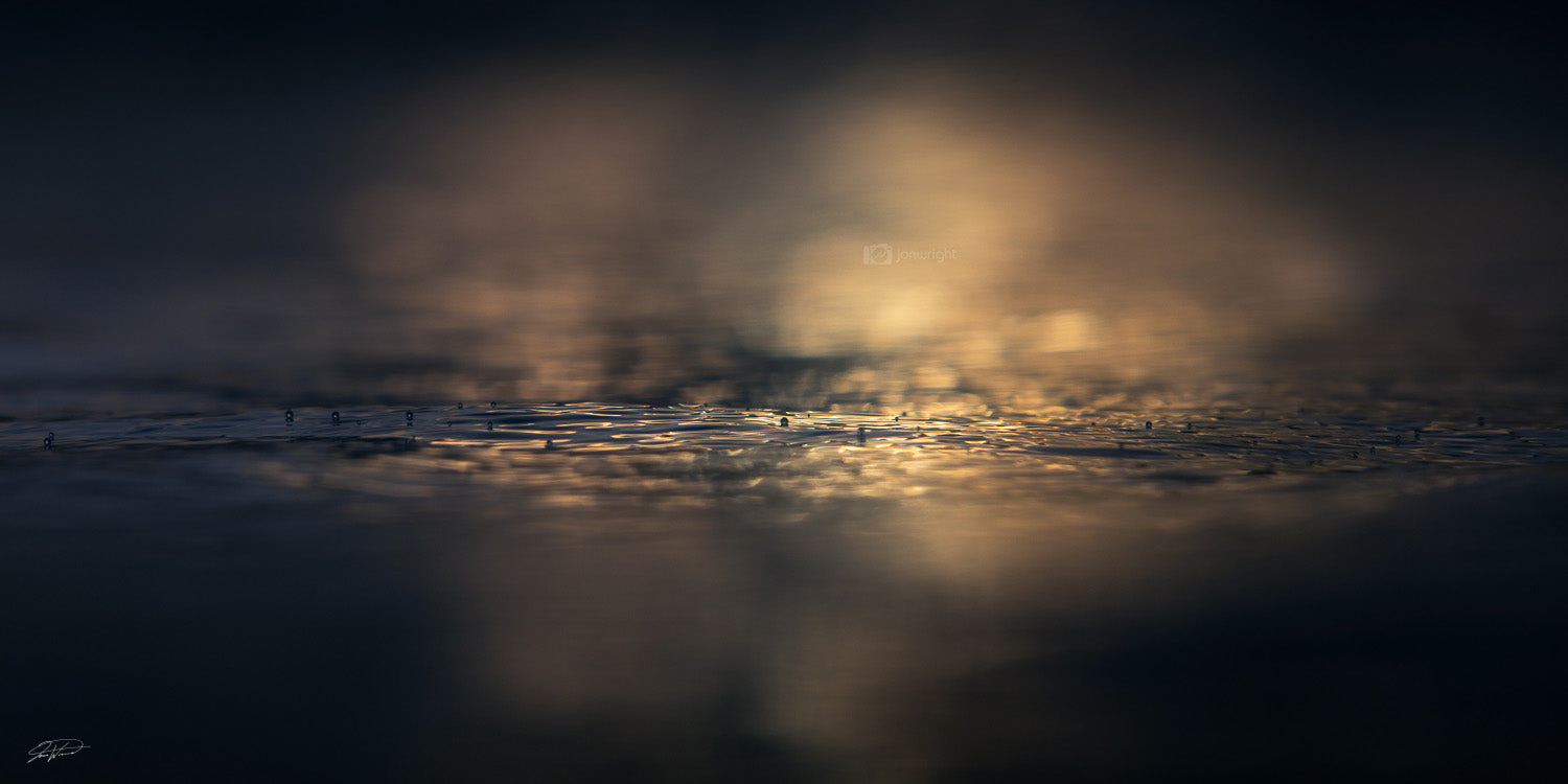 Ocean Art and Prints - Abstract water with golden light