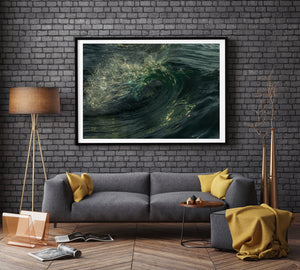 Emerald Flare Black Frame Wave Print
