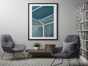 black framed wall print with abstract blue wall art