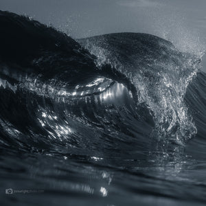 Black and White Square Print wave and ocean art