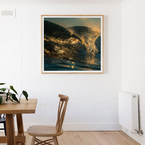 Square Oak Framed wall print with wave breaking black and gold