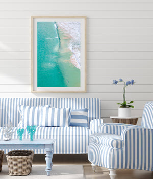 Beach Print Wall Art Oak Frame Hamptons styled room surf
