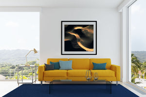 Black and gold abstract square wall art of sand dunes black frame