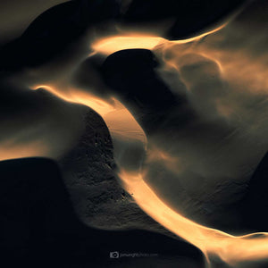Black and gold abstract square wall art of sand dunes