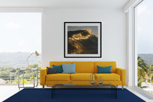 Golden Break Wave Wall Art prints black frame square
