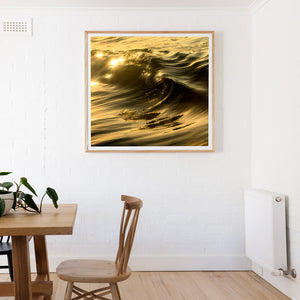 Golden Curl Oak Beach Print and Surf Art Square