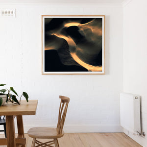 Black and gold abstract square wall art of sand dunes framed oak wood