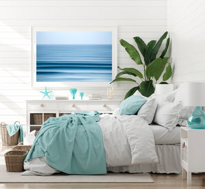 White frame beach styled room with beach print