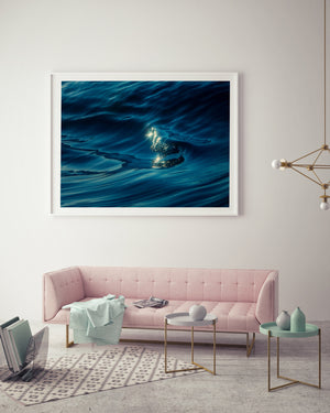 Liquid Silk Wall Art and wave photography white frame