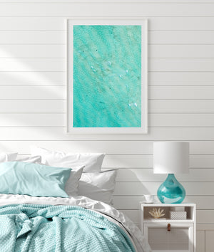 Abstract beach print wall art in white frame