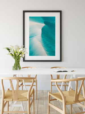 Beach styled room with blue beach wall art gold coast