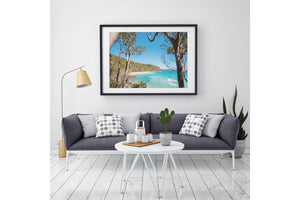 Noosa Heads tea Tree Bay Photographic Art Black Frame
