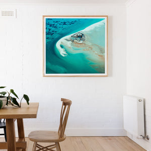 Square wall print framed in oak wooden fram Turqoise abstract aerial square wall art shark bay reef