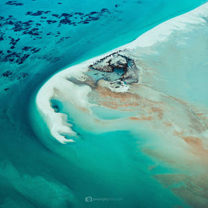 Turqoise abstract aerial square wall art shark bay reef