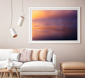 White Framed Ocean Artwork and metallic print