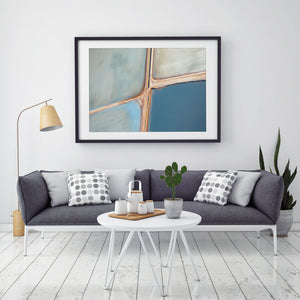 abstract aerial photography and fine art image hanging on wall with neutral colour palette