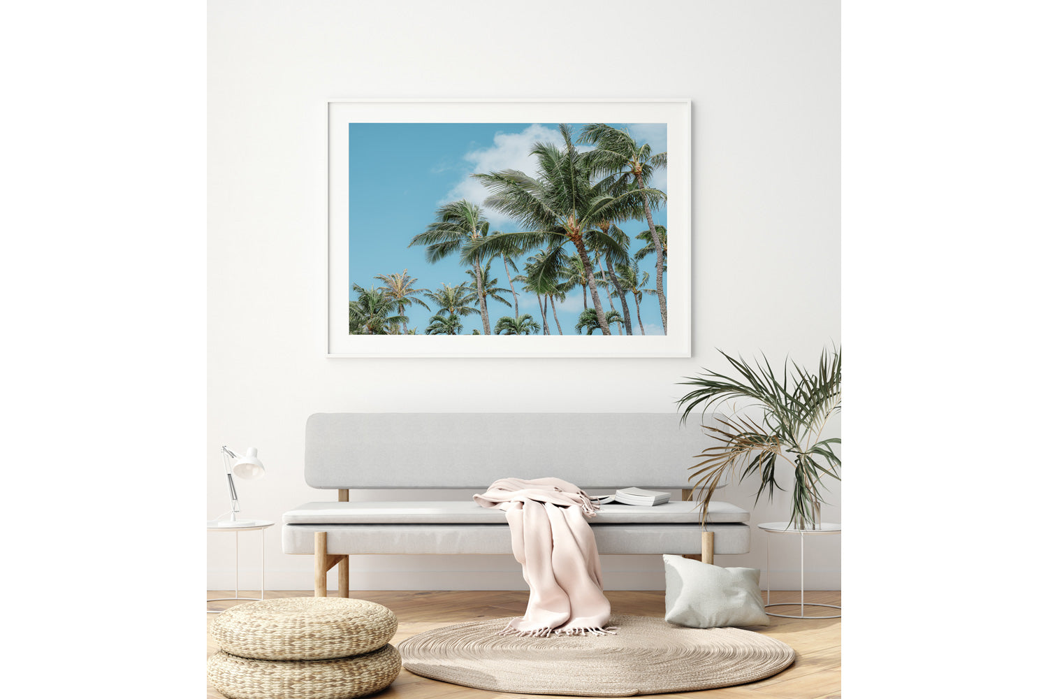 Palm Tree Print Hawaii White Frame