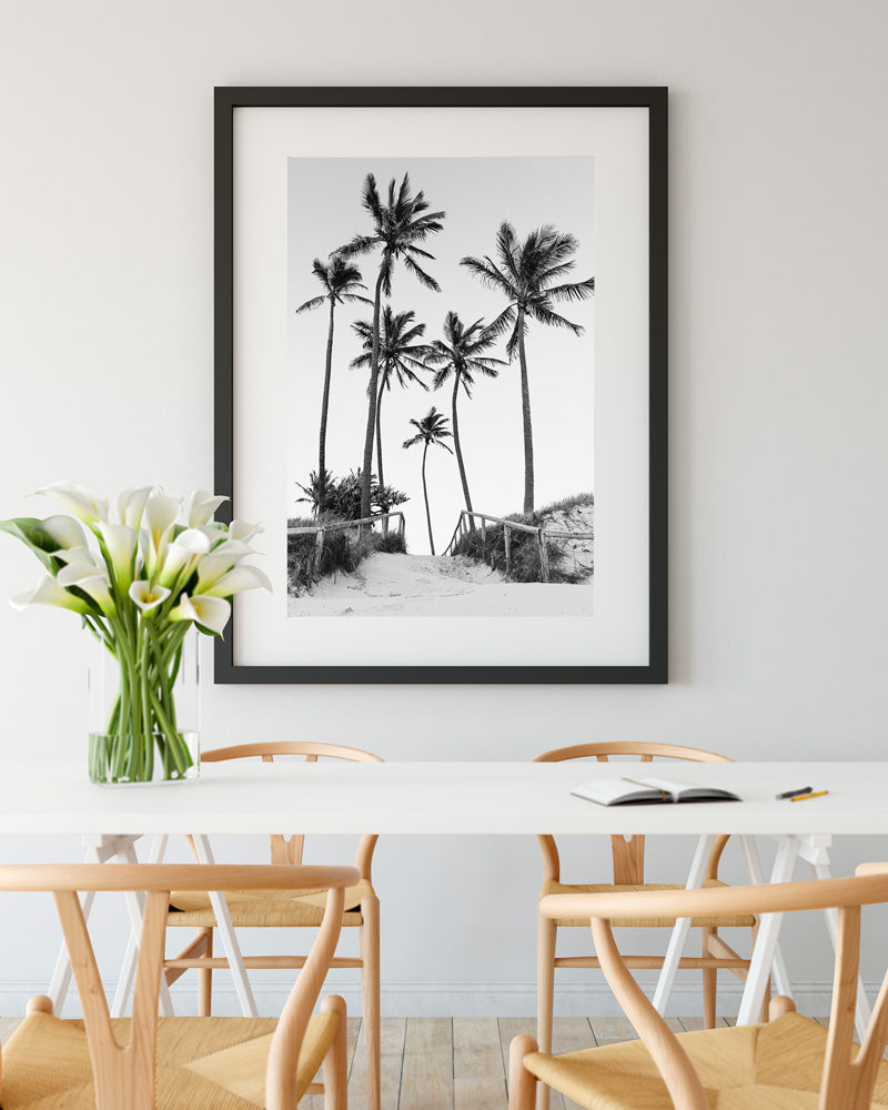 Palm Tree Print Wall Art Black and White