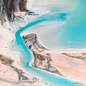 Abstract aerial photograph of an inlet creating fine art square wall art