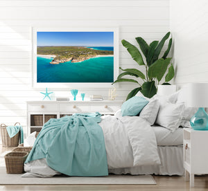 North Stradbroke Point Lookout print in white frame on wall