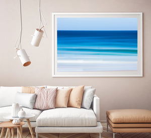 Revitalize abstract beach print white frame gold coast prints