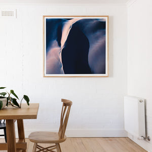 Square framed wall art of purple sand dunes and photography