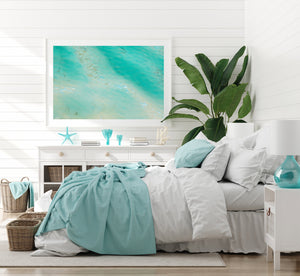 White framed wall art with turquoise aerial beach print