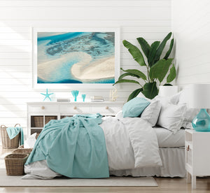 colourful wall art in white frame beach style