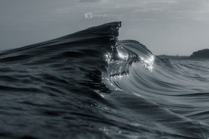 Black & White Abstract Shark Fin Ocean Art