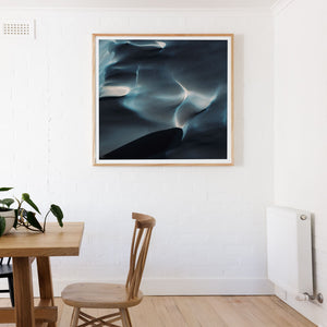 Framed abstract aerial art in square oak frame