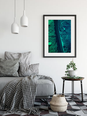 Blue Greent abstract wall print framed in black frame with modern styling