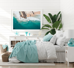 White framed wall art gold coast print