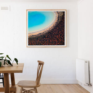 Tasmanian Oak Framed print on white wall with abstract print of red and blue sands