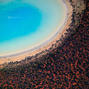 Square beach print western Australia red sands and blue water