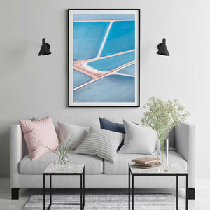 Black Framed Wall art with abstract blue aerial photography