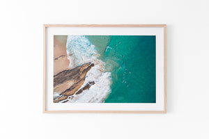 Snapper Rocks Gold Coast Print Oak Frame