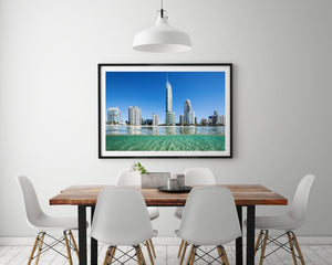 Black Framed print of Gold Coast Surfers Paradise