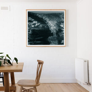 Touch Down Surf Photos and wall art in square frame black and white image