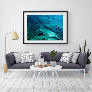 Modern framed artwork abstract aerial prints with blue green colour